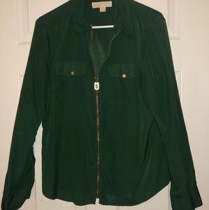 Hunter green zippered Michael Kors blouse